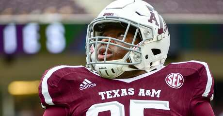 COLLEGE STATION, TX - NOVEMBER 04: Texas A&M Aggies defensive lineman Justin Madubuike (95) warms up before  the football game between Auburn and Texas A&M on November 4, 2017 at Kyle Field in College Station, Texas. (Photo by Ken Murray/Icon Sportswire via Getty Images)