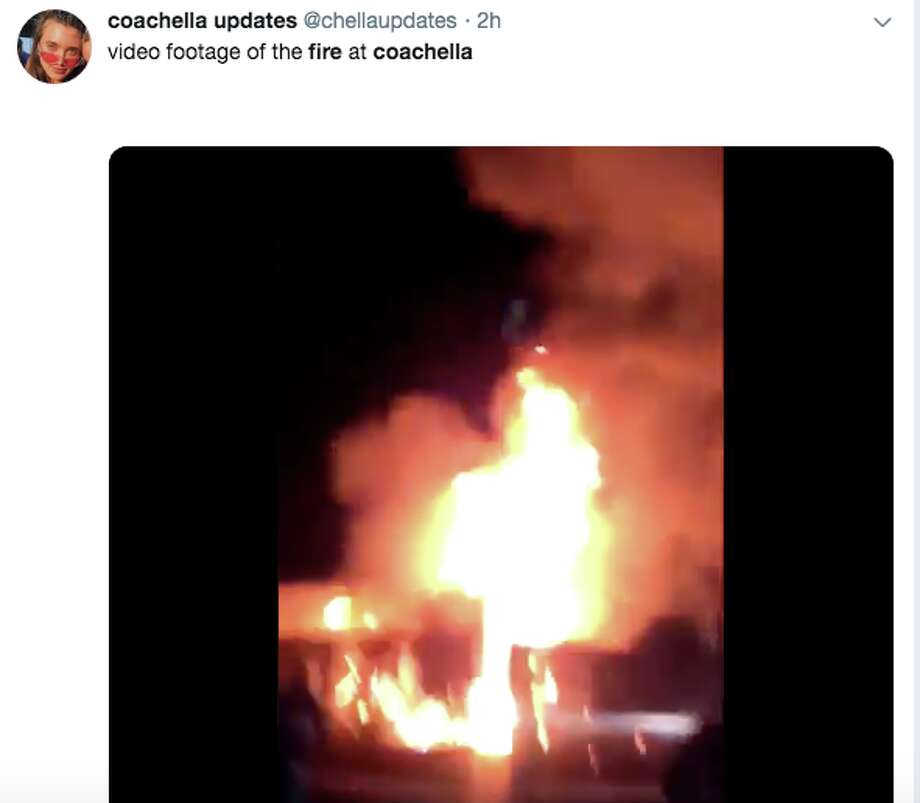 A fire broke out in one of the shower units during the first night of Coachella 2019.Click ahead to see photos from last year's festival. Photo: @chellaupdates/Twitter