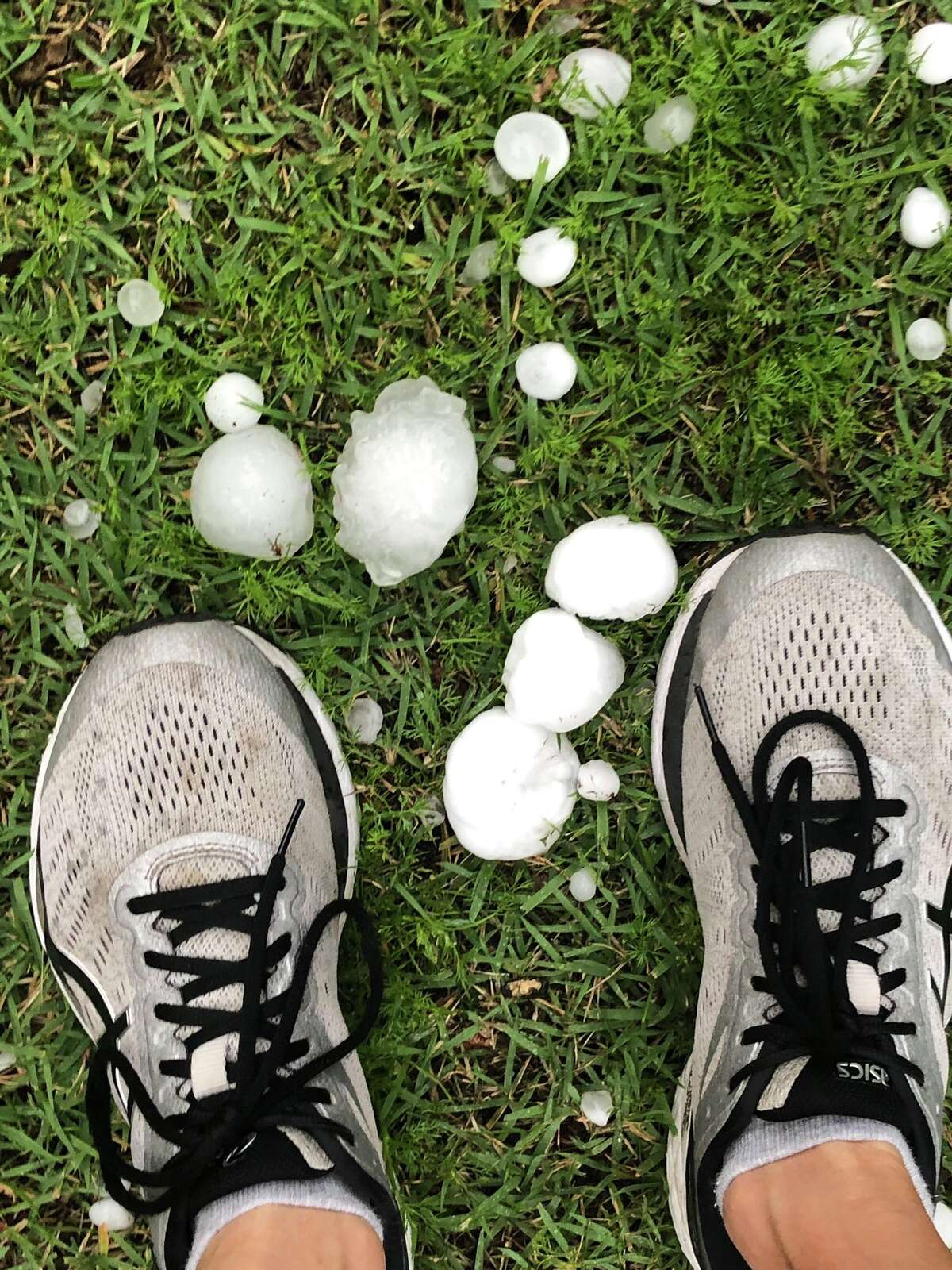 San Antonio residents woke up to hail Saturday morning as a storm system pushed through South-Central Texas.