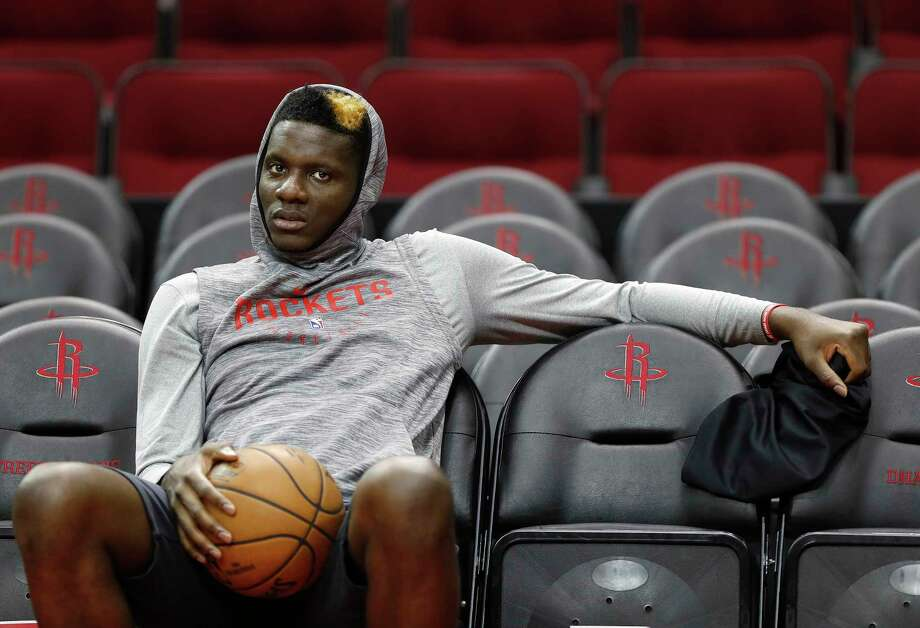 Houston Rockets center Clint Capela waits for practice to begin at Toyota Center,Saturday, April 13, 2019, in Houston, as the Rockets prepare to face the Utah Jazz in a best-of-seven series during the First Round of the 2019 NBA Playoffs. Photo: Karen Warren, Staff Photographer / © 2019 Houston Chronicle