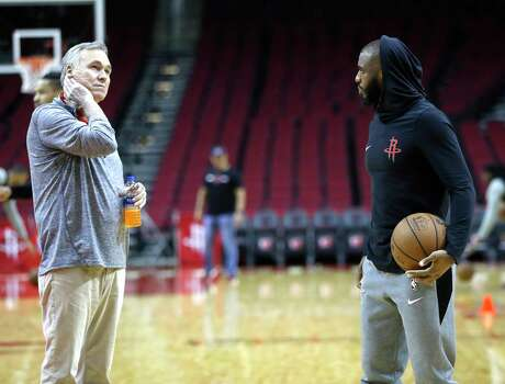 Houston Rockets head coach Mike D'Antoni talks with Chris Paul during the Houston Rockets practice at Toyota Center,Saturday, April 13, 2019, in Houston, as the Rockets prepare to face the Utah Jazz in a best-of-seven series during the First Round of the 2019 NBA Playoffs.