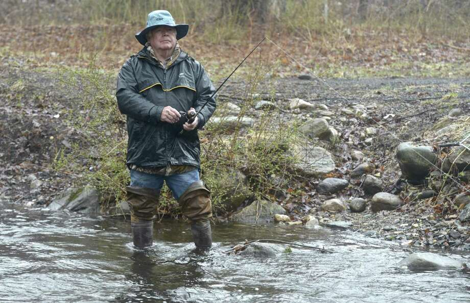 Ed Hannan, of Danbury, fishes the Saugatuck River, in Redding, Saturday morning on opening day of fishing season in Connecticut. Saturday, April 13, 2019, in Redding, Conn. Photo: H John Voorhees III / Hearst Connecticut Media / The News-Times