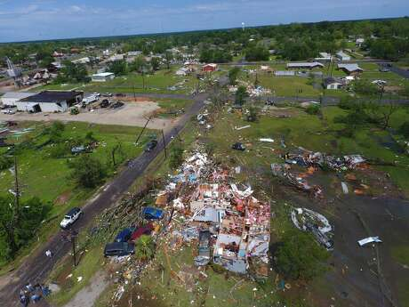 Drone photos capture the wreckage after a tornado touched down in Franklin, Texas on Saturday, April 13, 2019.