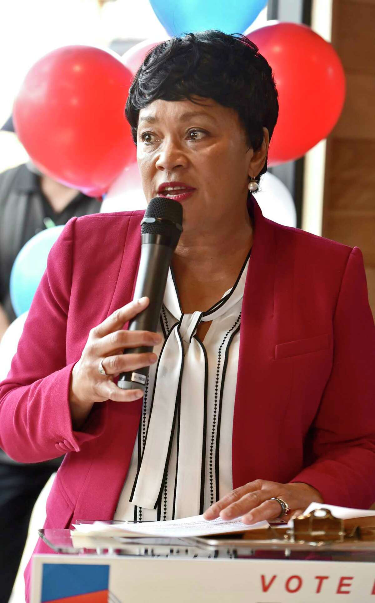 New Haven, Connecticut - Saturday, April 13, 2019: New Haven Mayor Toni Harp at her rally Saturday at the Stack barbecue restaurant in New Haven kicking of her re-election campaign.