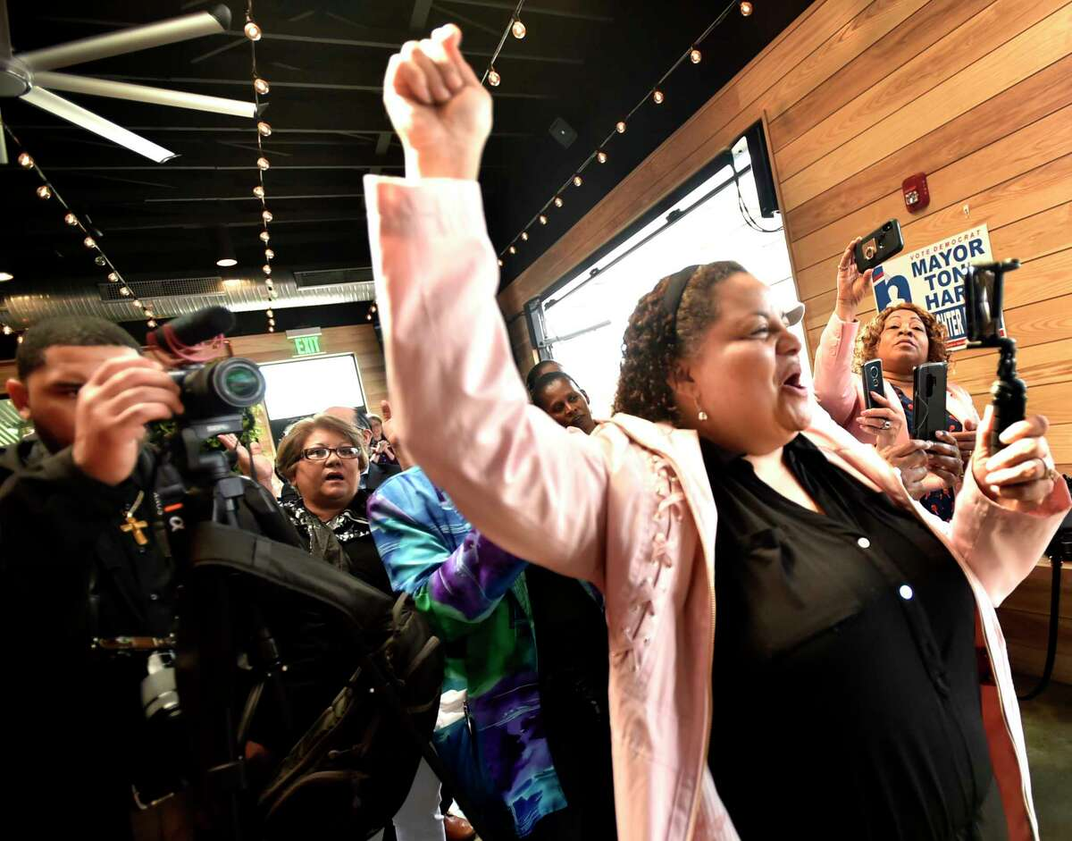 New Haven, Connecticut - Saturday, April 13, 2019: New Haven Mayor Toni Harp's rally Saturday at the Stack barbecue restaurant in New Haven kicking of her re-election campaign.