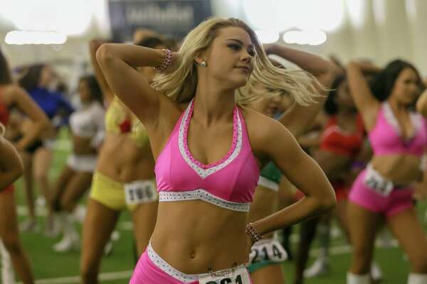 April 13, 2019: Cheer candidates warm up during the Houston Texans cheerleader tryouts at the Houston Methodist Training Center in Houston, Texas.
