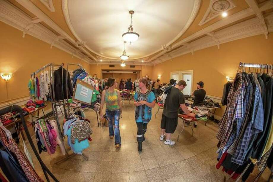 Swappers browse during a Pop-up Clotches Sway at Mineral Springs Mall in 2018. Photo: For The Telegraph