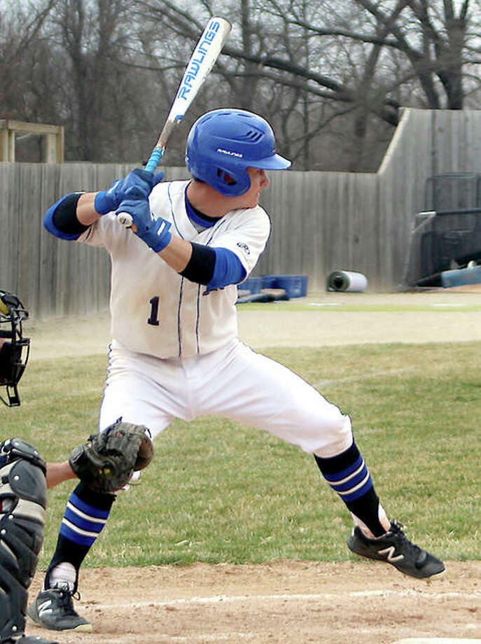 Tate Wargo of LCCC drove in the winning run in the seventh in of the Trailblazers' 7-6 victory over John Wood College Saturday in Quincy. LCCC also won 8-2 to sweep the JUCO doubleheader. Photo: Pete Hayes | The Telegraph