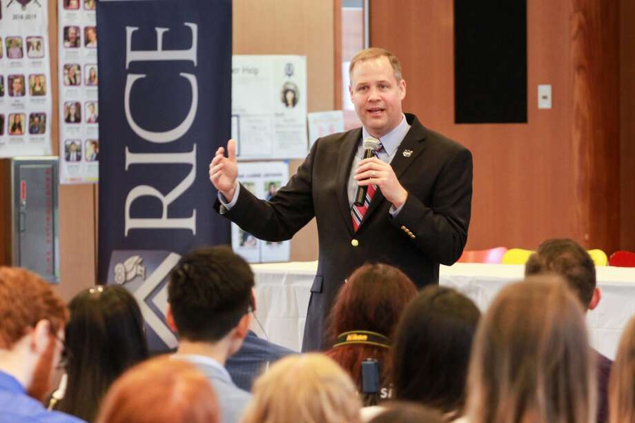Rice Alumnus and NASA Administrator Jim Bridenstine speaking at the first Owls in Space Symposium hosted by SEDS Rice. Photo: Gary Fountain/Contributor
