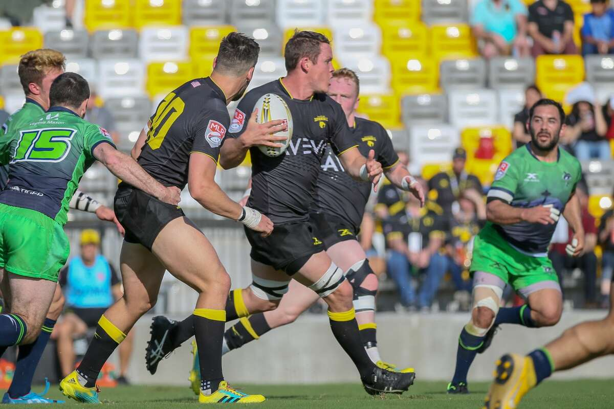 April 13, 2019: Houston SaberCats lock Diego Gianni Mango (4) carries the ball during the Major League Rugby match between the Seattle Seawolves and Houston SaberCats at Aveva Stadium in Houston, Texas.