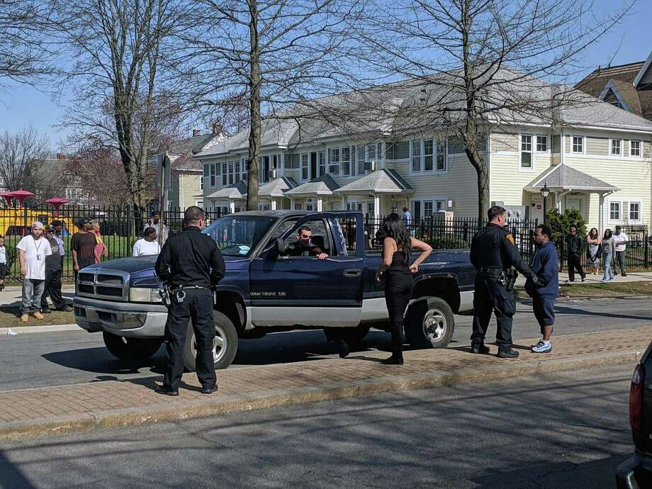 Bridgeport, Conn., police investigate after a pedestrian v. vehicle crash on April 13, 2019. Photo: Contributed Photo / Contributed Photo / Connecticut Post Contributed