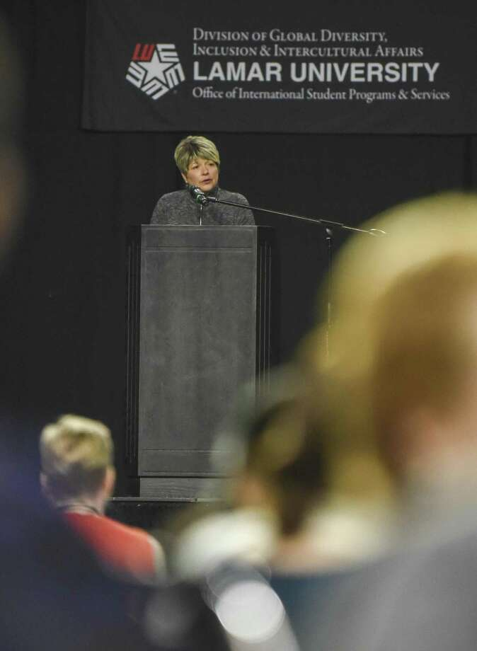 Beaumont Mayor Becky Ames talks during Lamar University's International Cultural Festival at the Montagne Center Saturday afternoon. Photo taken on Saturday, 04/13/19. Ryan Welch/The Enterprise Photo: Ryan Welch, Beuamont Enterprise / The Enterprise / © 2019 Beaumont Enterprise