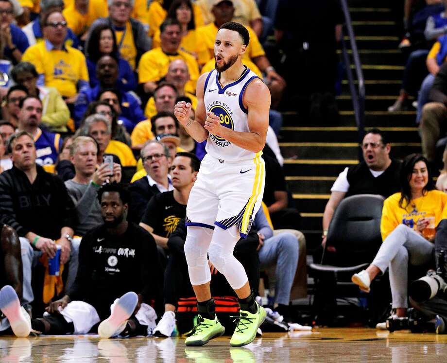 Golden State Warriors Stephen Curry reacts to a call in the second quarter during game 1 of the Western Conference Playoffs between the Golden State Warriors and the Los Angeles Clippers at Oracle Arena on Saturday, April 13, 2019 in Oakland, Calif. This photo was taken before Curry switched his right shoe. Basketball fans are wondering why he switched his right shoe in the fourth quarter of the Dubs' match against the Clips. Photo: Carlos Avila Gonzalez, The Chronicle