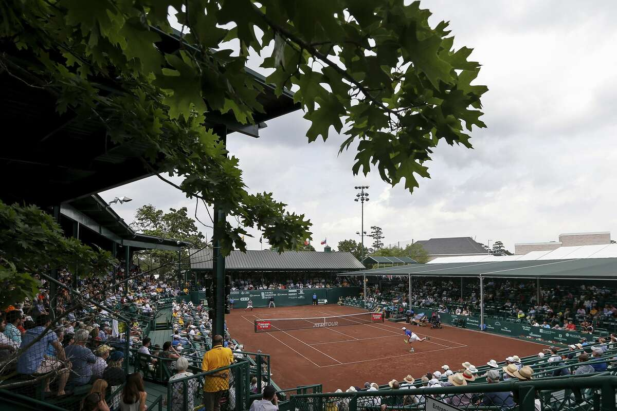 A view of Center Court as Sam Querrey serves to Christian Garin in the second set during the semifinal match of the US Men's Clay Court Championships at River Oaks Country Club in Houston, TX on Saturday, April 13, 2019.