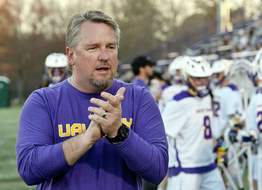 University at Albany head coach Scott Marr encourages his players before playing University of Maryland, Baltimore County's during a NCAA lacrosse game Saturday, April 13, 2019, in Albany, N.Y. Photo: Hans Pennink, Times Union / Hans Pennink
