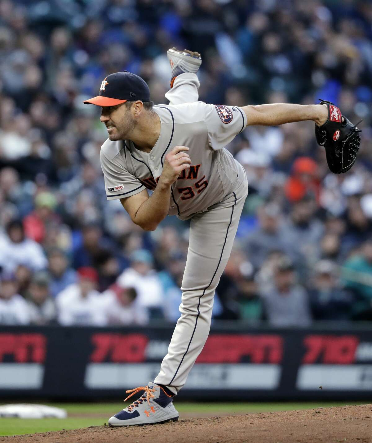 Houston Astros starting pitcher Justin Verlander throws against the Seattle Mariners in a baseball game Saturday, April 13, 2019, in Seattle. (AP Photo/Elaine Thompson)
