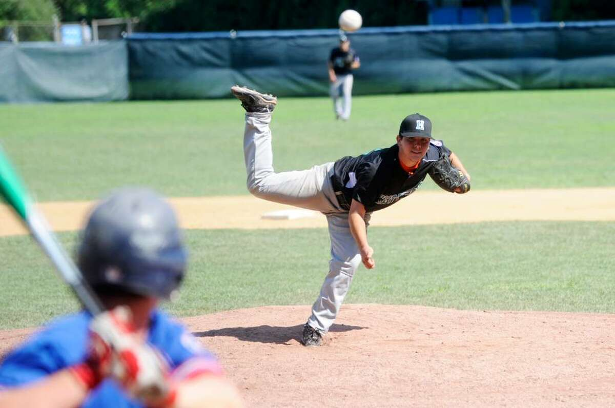 Housatonic Valley's Alex Fresa pitches as Housatonic Valley faces Eastern Massachusetts in the Senior Babe Ruth New England Regional Finals at Cubeta Stadium in Scalzi Park Monday, July 26, 2010.