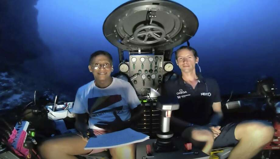 Seychelles President Danny Faure (left) joins the British-led Nekton research mission in an underwater submersible off the coast of Desroches Island. Photo: Nekton