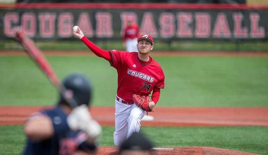 SIUE pitcher Collin Baumgartner in action during Saturday's doubleheader against UT Martin. Photo: SIUE Athletics