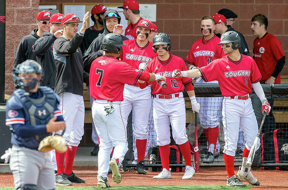 SIUE's Raul Elguezabal (7), who had doubled and later scored, is congratulated by teammates during Saturday's doubleheader sweep at UT Martin at SIUE.
