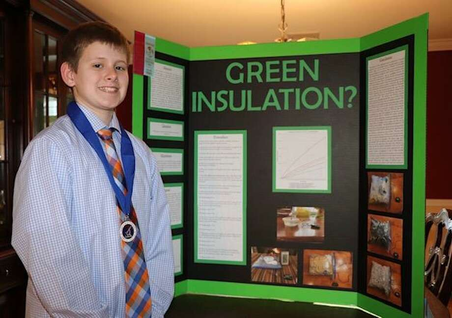 Tyler Fahey, a seventh-grader, was among the students at St. Gregory the Great School in Danbury who were awarded at the CT Science and Engineering Fair. Photo: / Contributed Photo
