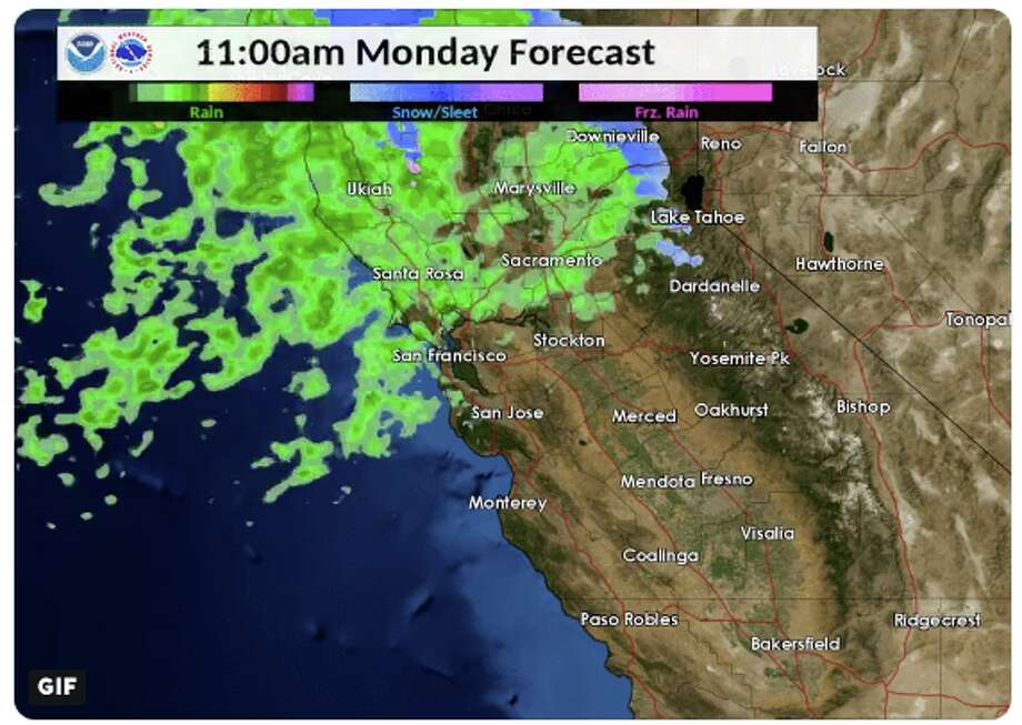 """Rain is forecast for the San Francisco Bay Area on Monday by the National Weather Service, which """"could make for a messy commute,"""" the NWS tweeted. Photo: Courtesy Of The National Weather Service"""