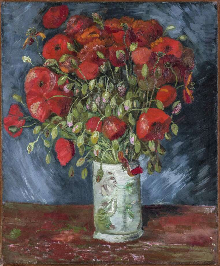 """""""Vase with Poppies,"""" c. 1886, given by Anne Parrish Titzell to the Wadsworth Atheneum Museum of Art in Hartford, has been fully authenticated as the work of Vincent van Gogh. Photo: Vincent Van Gogh (Dutch 1853-1890) Vase With Poppies C. 1886. Oil On Canvas. 21 1/2 X 17 3/4 In. Wad"""