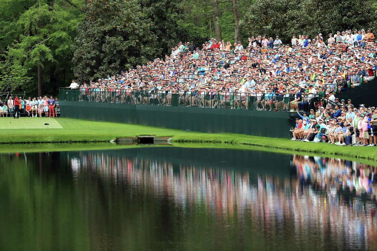 AUGUSTA, GEORGIA - APRIL 14: Tiger Woods of the United States plays a shot from the 16th tee during the final round of the Masters at Augusta National Golf Club on April 14, 2019 in Augusta, Georgia. (Photo by Andrew Redington/Getty Images)