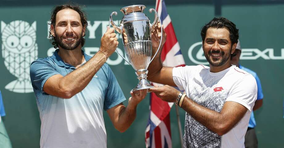 Santiago Gonzalez and Aisam-ul-Haq Qureshi hold the Championship Trophy after winning the doubles finals against Ken and Neal Skupski at the US Men's Clay Court Championships at River Oaks Country Club in Houston, TX on Sunday, April 14, 2019. Photo: Tim Warner/Contributor
