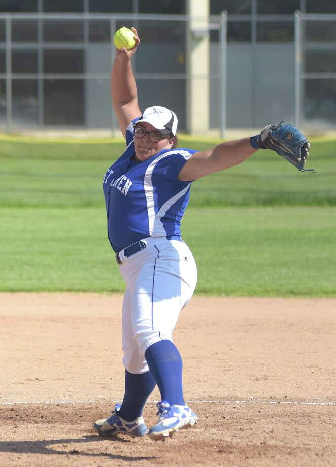 West Haven pitcher Ivy Santos has allowed two runs or fewer five times this season, including a shutout of defending Class LL champion Amity. Photo: John Nash / Hearst Connecticut Media