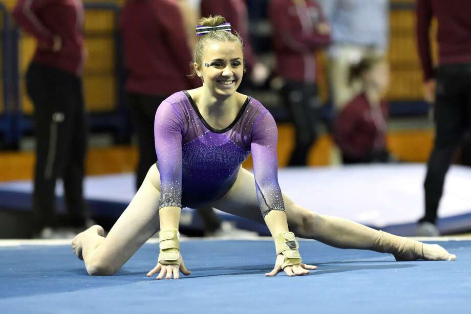 Julianna Roland of the Bridgeport gymnastics team won the all-around to lead Purple Knights to victory in a recent four-team meet. Photo: Bridgeport /submitted Photo