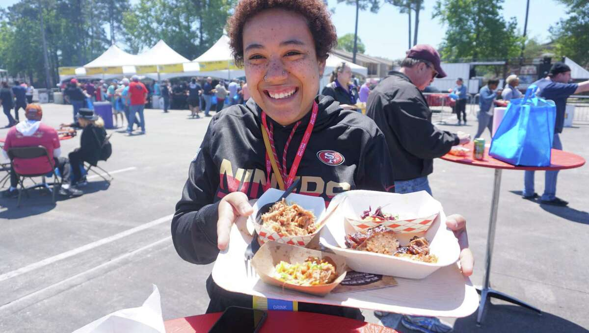 Nicole Purtee from Pearland with her tray atthe 7th Annual Houston Barbecue Festival on April 14 in Humble.