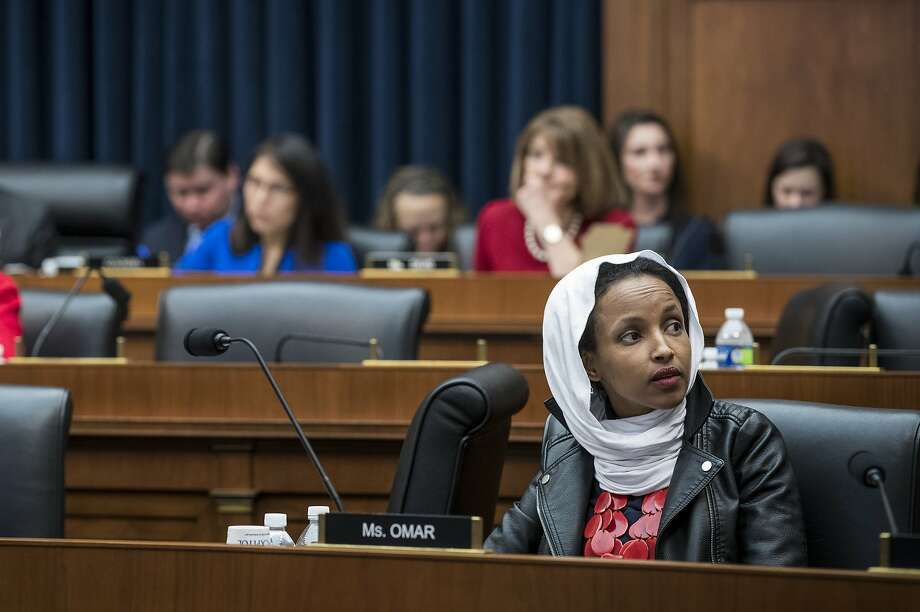 FILE -- Rep. Ilhan Omar (D-Minn.) in the Rayburn House Office Building in Washington, March 13, 2019. The New York Post featured the burning World Trade Center towers and a partial quote from Omar on a front page that protesters fear could incite violence against Muslims. (Sarah Silbiger/The New York Times) Photo: Sarah Silbiger, NYT