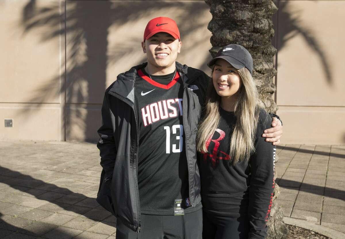 PHOTOS: A look at Rockets fans at Game 1 of the Rockets-Jazz series Houston Rockets fans pose for a pohotograph outside the Toyota Center before the Game 1 of a NBA basketball first round series against the Utah Jazz on Sunday, April 14, 2019, in downtown Houston.