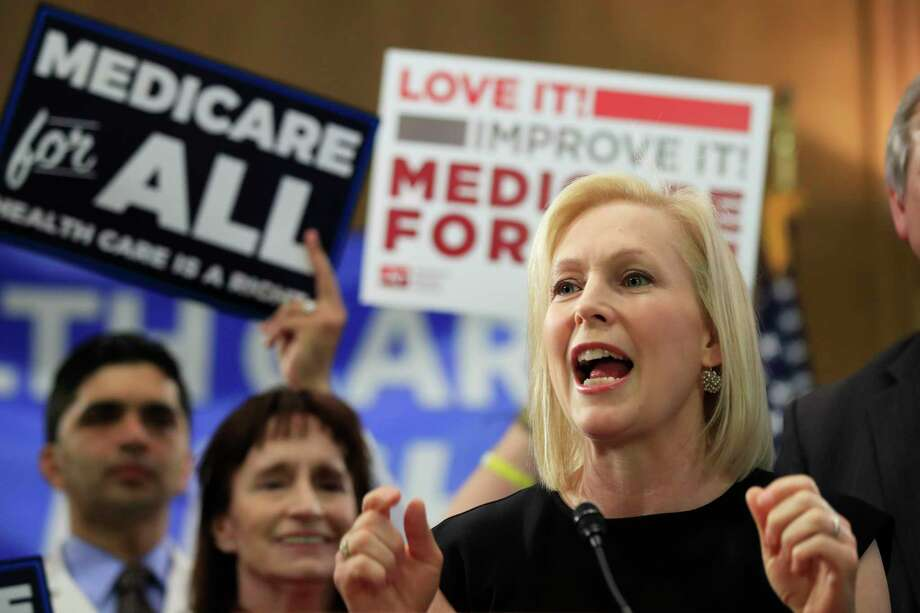 Sen. Kirsten Gillibrand, D-N.Y. speaks at a gathering introducing the Medicare for All Act of 2019, on Capitol Hill in Washington, Wednesday, April 10, 2019. (AP Photo/Manuel Balce Ceneta) Photo: Manuel Balce Ceneta / Copyright 2019 The Associated Press. All rights reserved.
