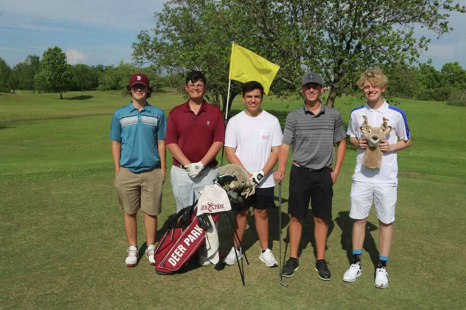 From left, Riley Garrett, Logan Sabin, Levi Robinson, Mark Balderas and Cameron Norville all did their part to help Deer Park's two teams play well  at district earlier this month. For Sabin and Balderas, it's now time to tee off at the 36-hole Region III tournament. Photo: Robert Avery