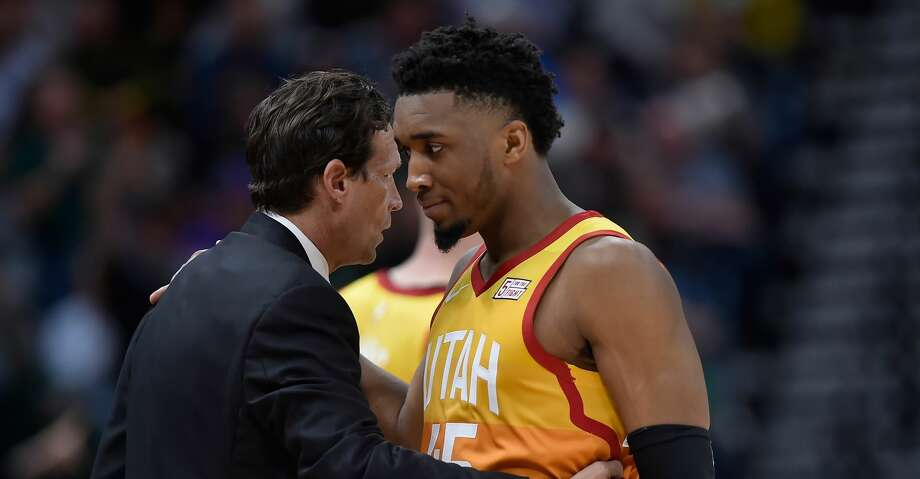 PHOTOS: Rockets game-by-game Utah Jazz head coach Quin Snyder talks with Donovan Mitchell #45 of the Utah Jazz in the second half of a NBA game against the Denver Nuggets at Vivint Smart Home Arena on April 09, 2019 in Salt Lake City, Utah. (Photo by Gene Sweeney Jr./Getty Images) Browse through the photos to see how the Rockets fared in each game this season. Photo: Gene Sweeney Jr./Getty Images