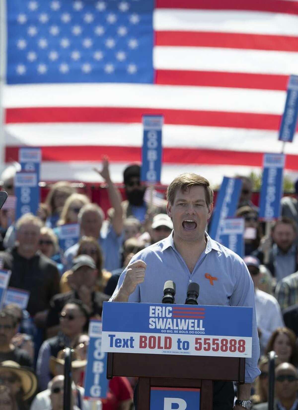 Rep. Eric Swalwell, D-Dublin, who has hopes of becoming president, gives a speech at his alma mater, Dublin High School.