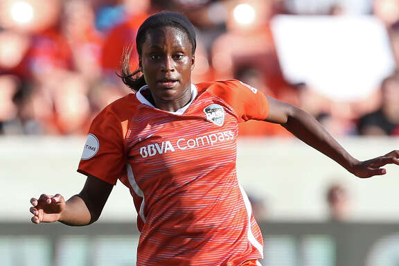 Houston Dash forward Nichelle Prince (14) dribbles during the second half of the season opener NWSL game against the Chicago Red Stars at BBVA Stadium on Sunday, March 25, 2018, in Houston. The Houston Dash and the Chicago Red Stars tied at 1-1. ( Yi-Chin Lee / Houston Chronicle )