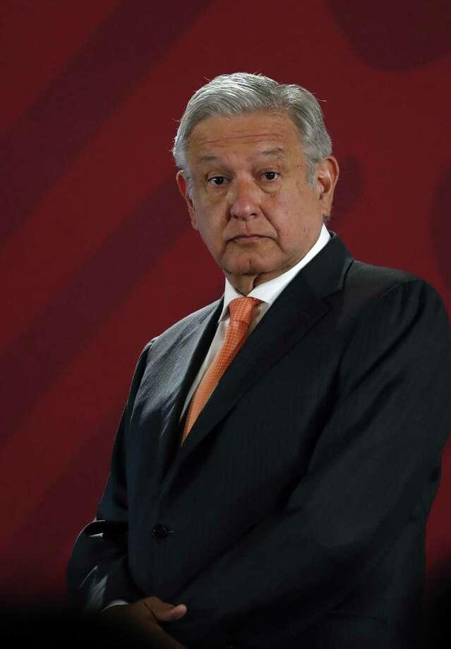 ARCHIVO—El presidente mexicano, Andrés Manuel López Obrador, responde a las preguntas de los periodistas en su conferencia de prensa diaria de las 7 a.m. en el Palacio Nacional en la Ciudad de México, el martes 9 de abril de 2019. Photo: Marco Ugarte /Associated Press / Copyright 2019 The Associated Press. All rights reserved.