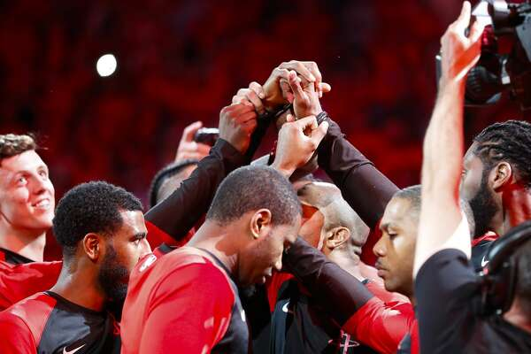The Houston Rockets prepare for the first half of the first round of the NBA playoffs at Toyota Center, Sunday, April 14, 2019, in Houston.