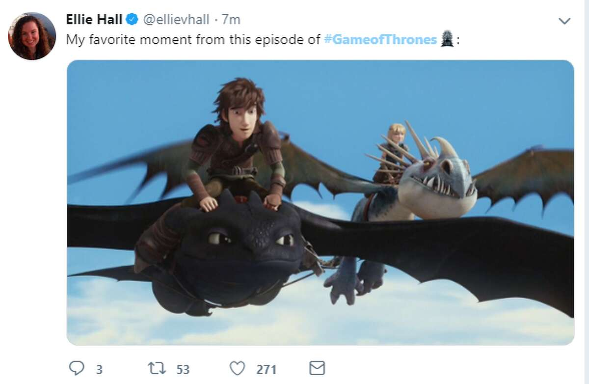"""""""My favorite moment from this episode of #GameofThrones:"""" Twitter account: @ellievhall >>>Click thru to see the best memes from the first episode of Season 8 of 'Game of Thrones.'"""