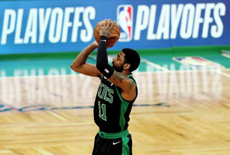 Boston Celtics' Kyrie Irving shoots against the Indiana Pacers during the first quarter in Game 1 of a first-round NBA basketball playoff series, Sunday, April 14, 2019, in Boston. (AP Photo/Winslow Townson) Photo: Winslow Townson / Copyright 2019 The Associated Press. All rights reserved.