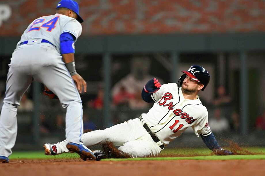 Atlanta Braves center fielder Ender Inciarte (11) steals second base with New York Mets second baseman Robinson Cano moving to attempt a tag during the second inning of a baseball game Sunday, April 14, 2019, in Atlanta. (AP Photo/John Amis) Photo: John Amis / Copyright 2019 The Associated Press. All rights reserved