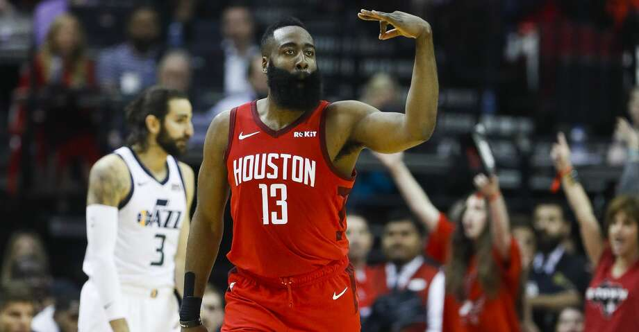 Houston Rockets guard James Harden (13) celebrates a three-pointer during the first half of the first round of the NBA playoffs at Toyota Center, Sunday, April 14, 2019, in Houston. Photo: Karen Warren/Staff Photographer