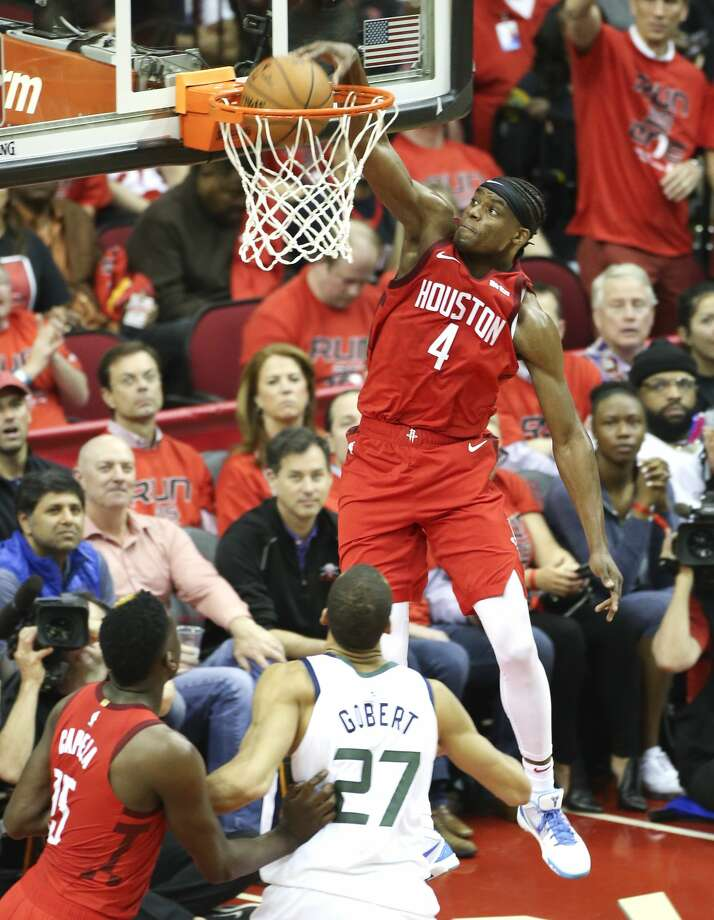 Houston Rockets forward Danuel House Jr. (4) dunks the ball in the second half against the Utah Jazz in the first game of an NBA playoff series at Toyota Center on Sunday, April 14, 2019 in Houston. Photo: Elizabeth Conley/Staff Photographer