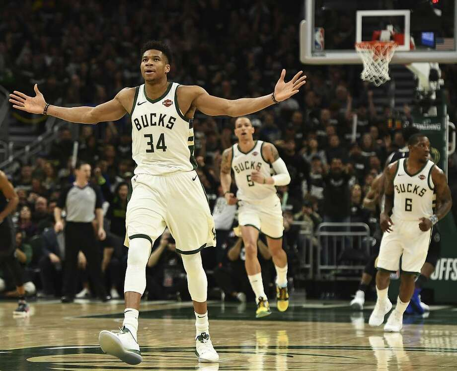 The Bucks' Giannis Antetokounmpo looked like a possible MVP, scoring 24 points and pulling down 17 rebounds in 24 minutes. Photo: Stacy Revere / Getty Images / 2019 Getty Images