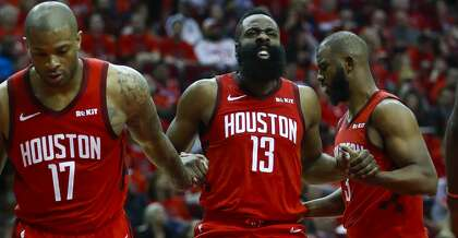 9bc5286dfd89 Houston Rockets guard James Harden (13) reacts after a play during the  second half of the first round of the NBA playoffs at Toyota Center