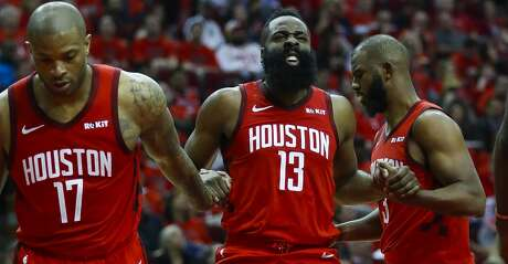 Houston Rockets guard James Harden (13) reacts after a play during the second half of the first round of the NBA playoffs at Toyota Center, Sunday, April 14, 2019, in Houston.