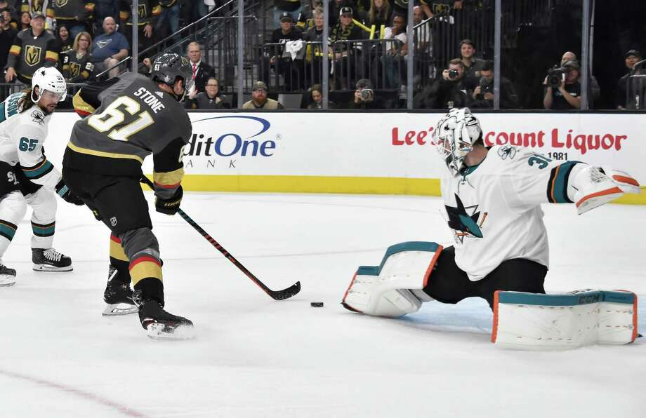 LAS VEGAS, NV - APRIL 14: Mark Stone #61 of the Vegas Golden Knights scores a goal during the third period against the San Jose Sharks in Game Three of the Western Conference First Round during the 2019 NHL Stanley Cup Playoffs at T-Mobile Arena on April 14, 2019 in Las Vegas, Nevada. (Photo by David Becker/NHLI via Getty Images) Photo: David Becker / NHLI Via Getty Images / 2019 NHLI